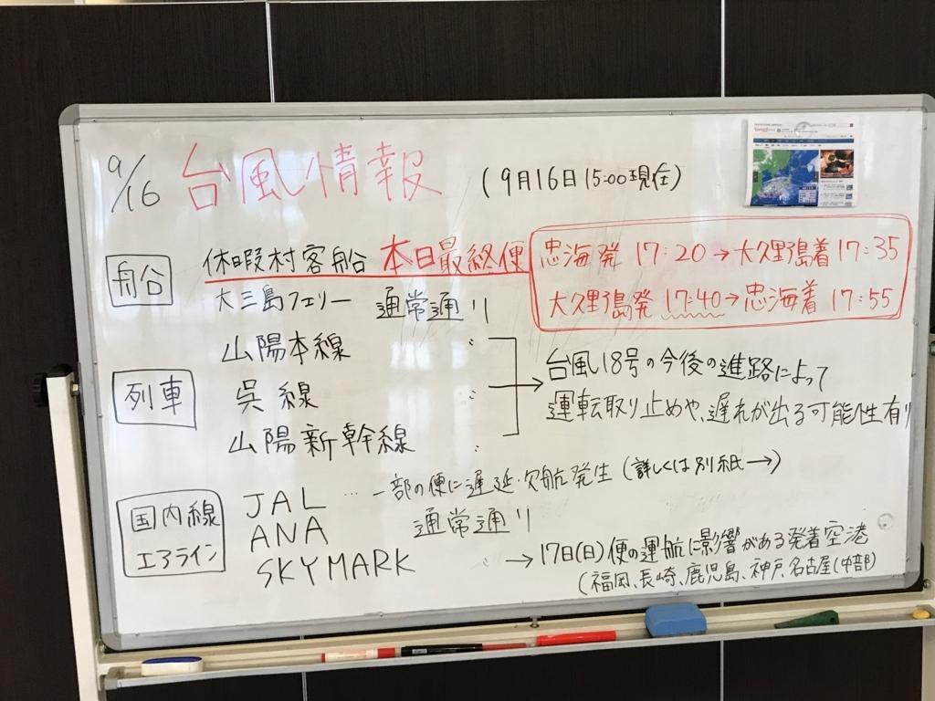 広島県 うさぎ島(大久野島)台風18号接近 前日 休暇村 フロント 台風情報