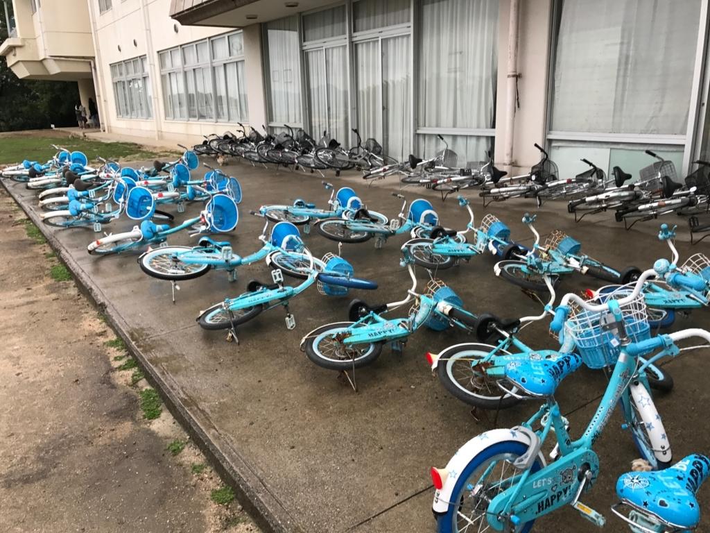 広島県 うさぎ島(大久野島)台風18号接近 前日 休暇村 倒してある自転車