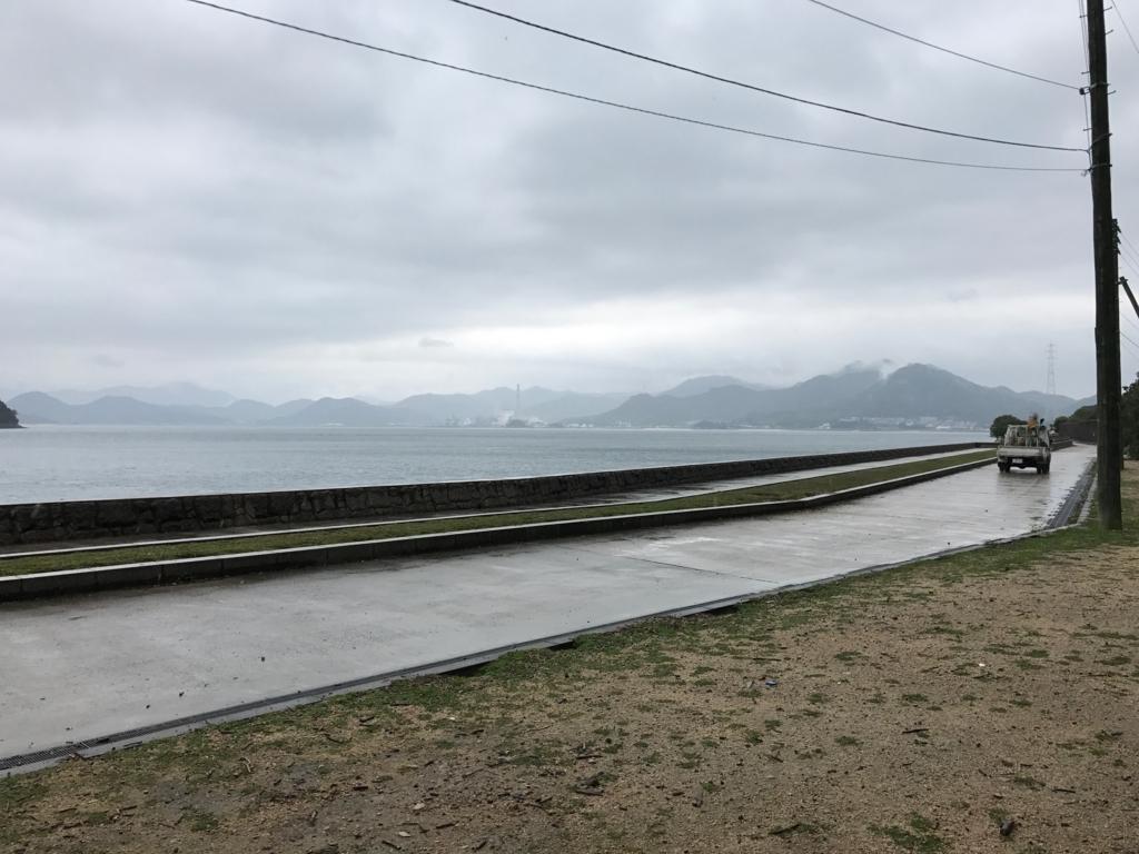 広島県 うさぎ島(大久野島)台風18号接近 前日 お知らせに回る休暇村の車