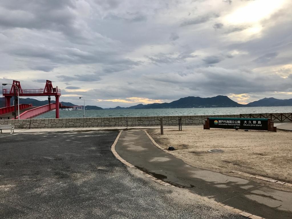 広島県 うさぎ島(大久野島)台風18号午後接近 早朝の第2桟橋
