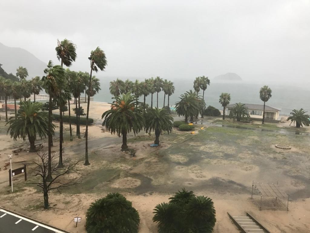 広島県 うさぎ島(大久野島)台風18号午後接近中 休暇村広場 暴風雨