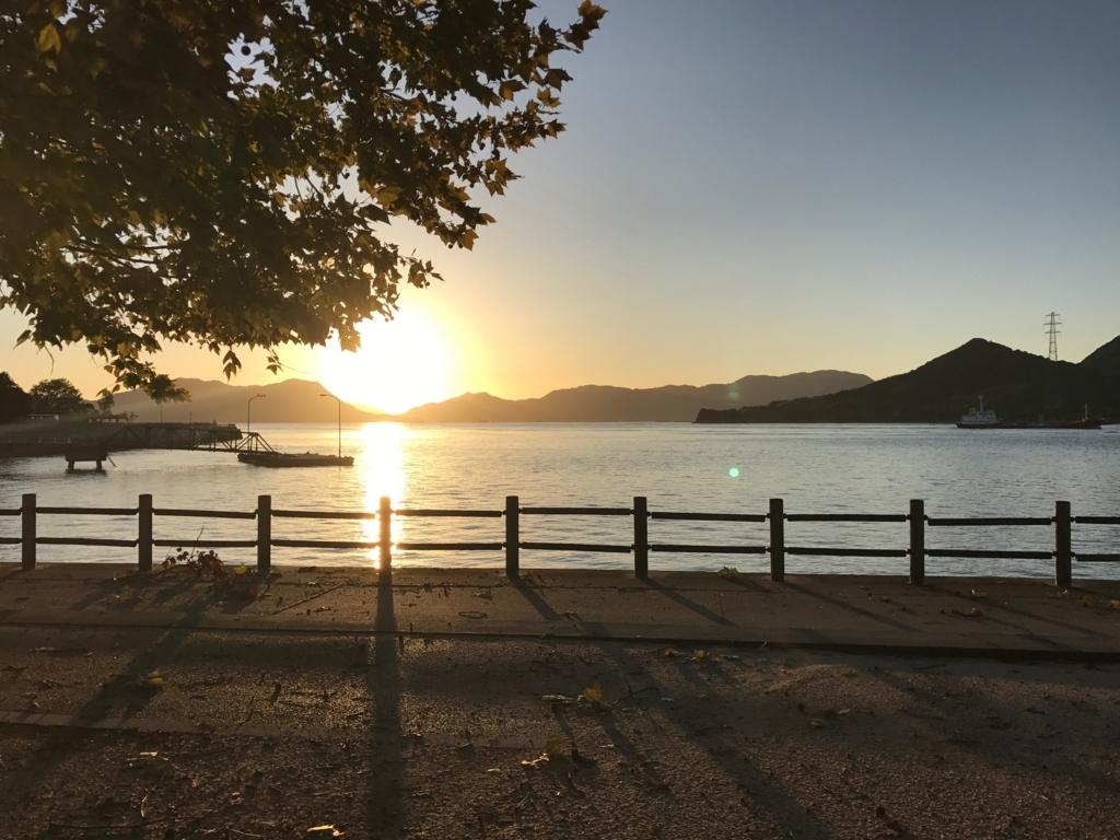広島県 うさぎ島(大久島)台風18号が去った早朝 第一桟橋 朝日
