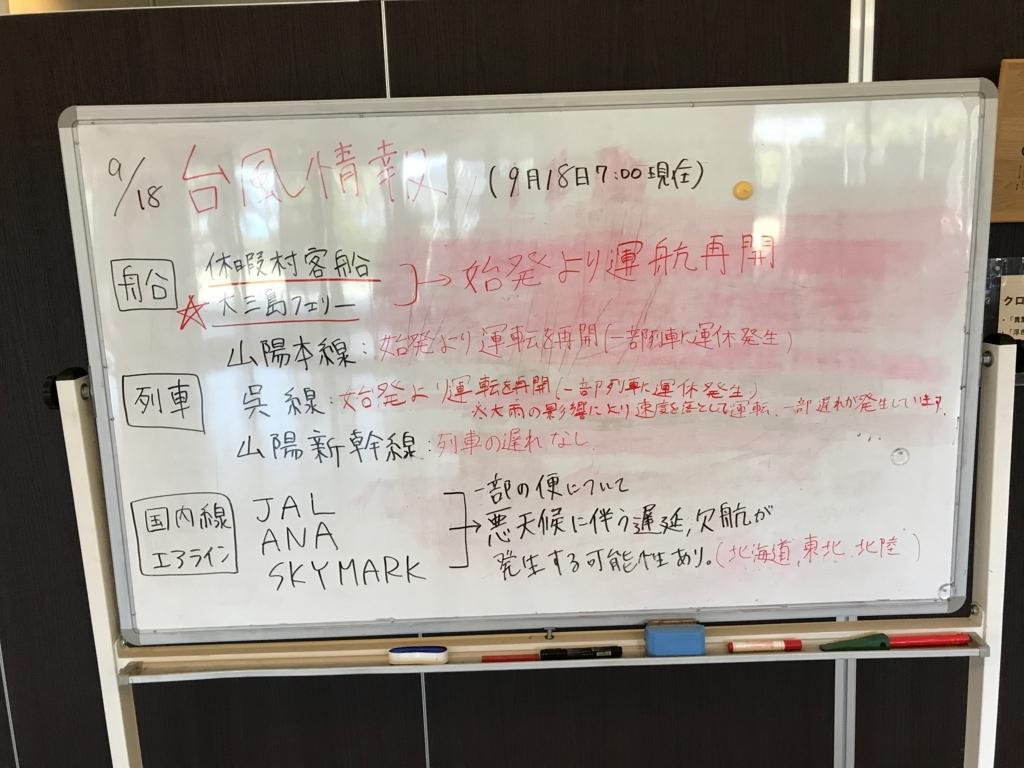 広島県 うさぎ島(大久島)台風18号の後 休暇村フロント 台風情報