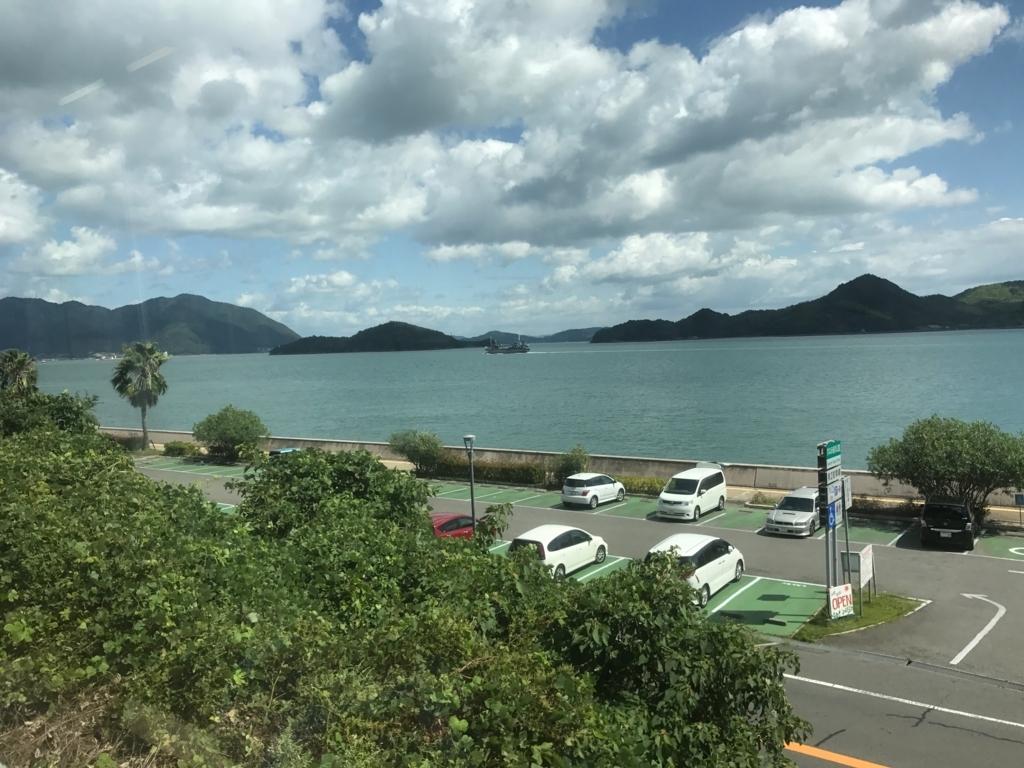 広島県 呉線 忠海駅から三原えき駅へ 台風18号の影響で徐行する電車 から