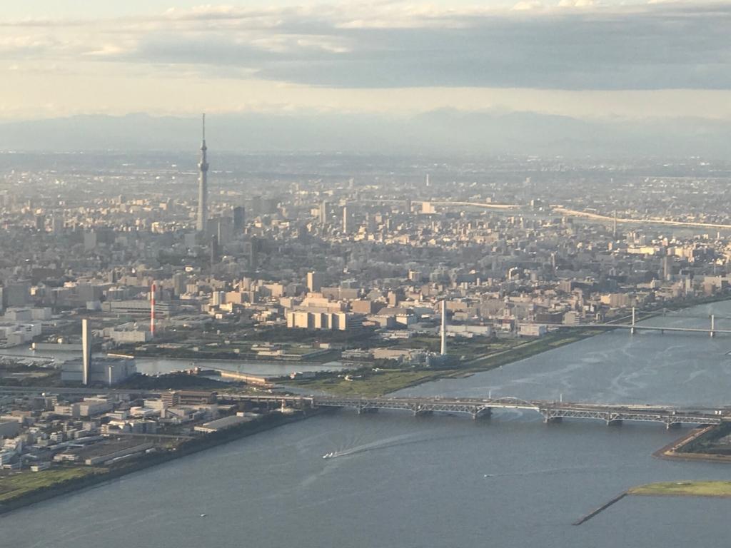 広島空港 ANA680便 東京付近 スカイツリー