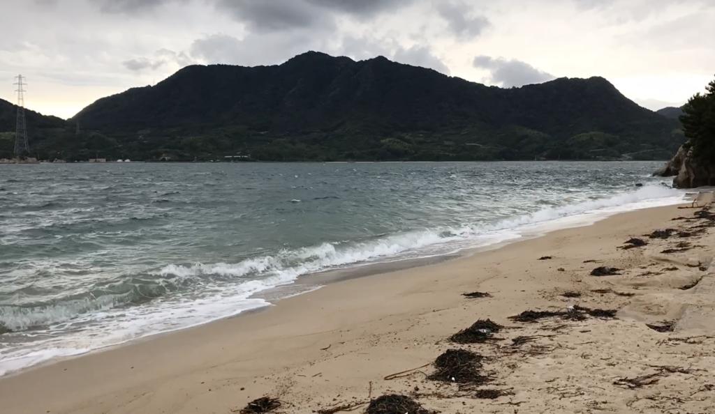 広島県 うさぎ島(大久野島)台風18号接近 前日の海水浴