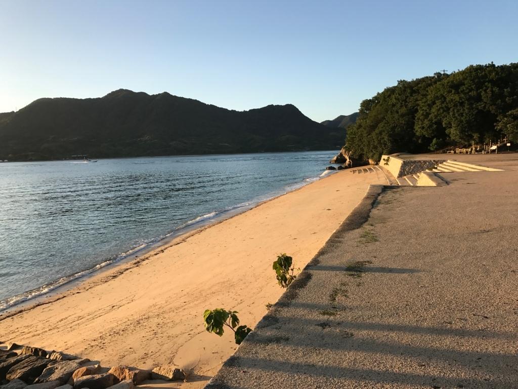 広島県 うさぎ島(大久野島)台風18号 が去った翌日の海水浴場