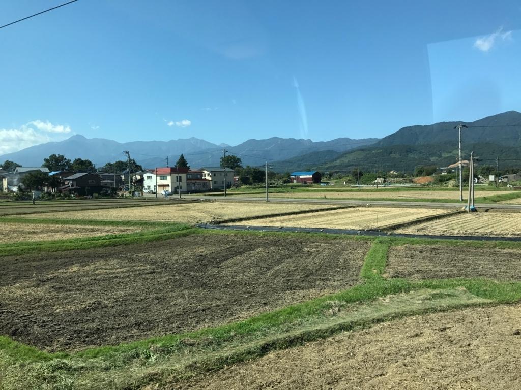 えちごトキめき鉄道「雪月花」車窓の風景9月末 稲刈り時期