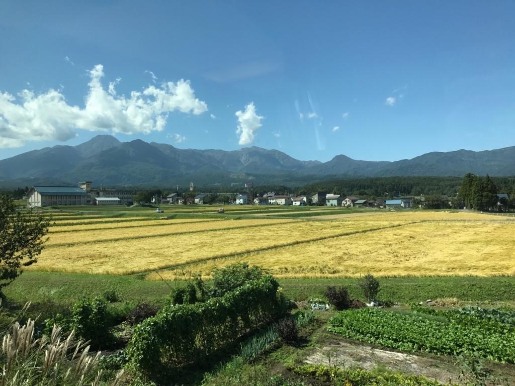 えちごトキめき鉄道会社 展望観光列車「雪月花」9月の車窓 稲穂の風景