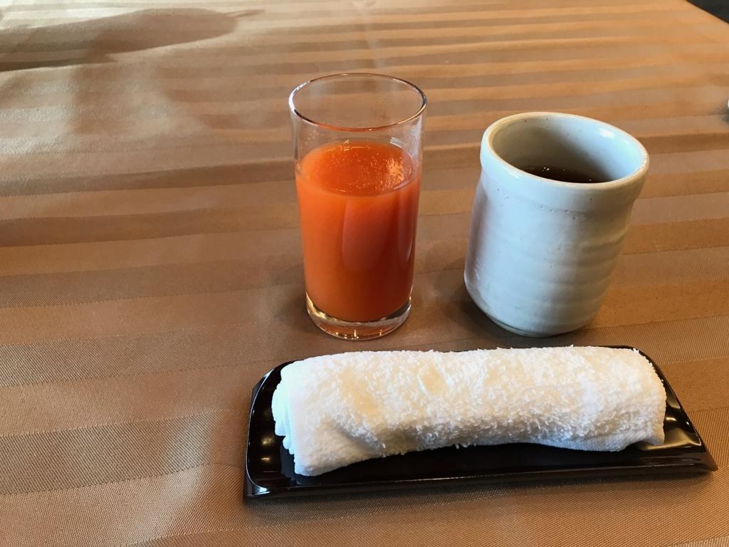 妙高高原 赤倉温泉 「赤倉観光ホテル」荀菜ダイニング「白樺」朝食 キャロットジュース