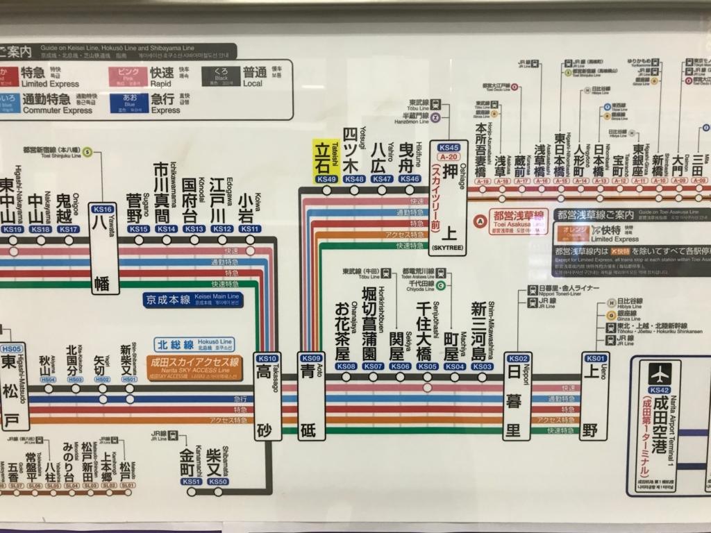 京成線、京成立石駅 路線図
