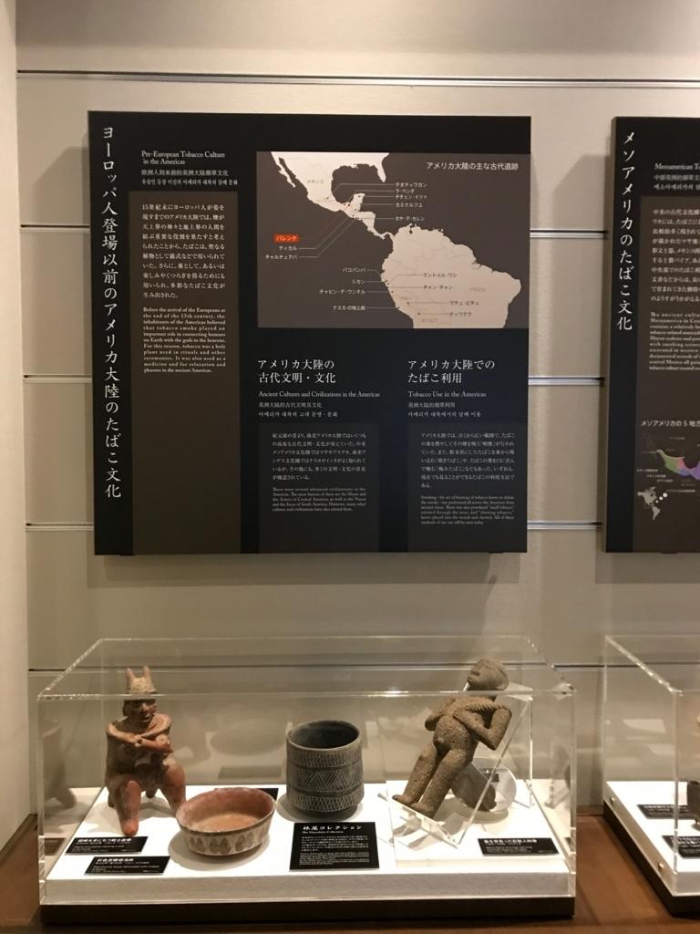 墨田区「たばこと塩の博物館」 3階タバコフロア 中央アメリカ 古代文明 器