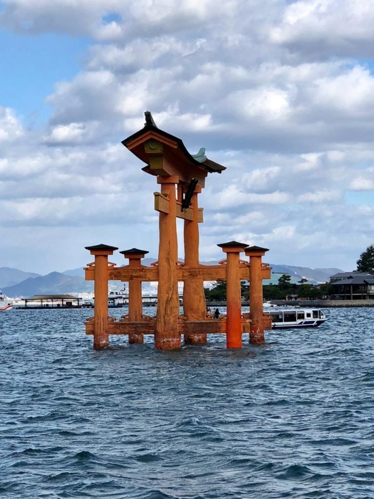広島県 宮島 厳島神社 西側からの 大鳥居