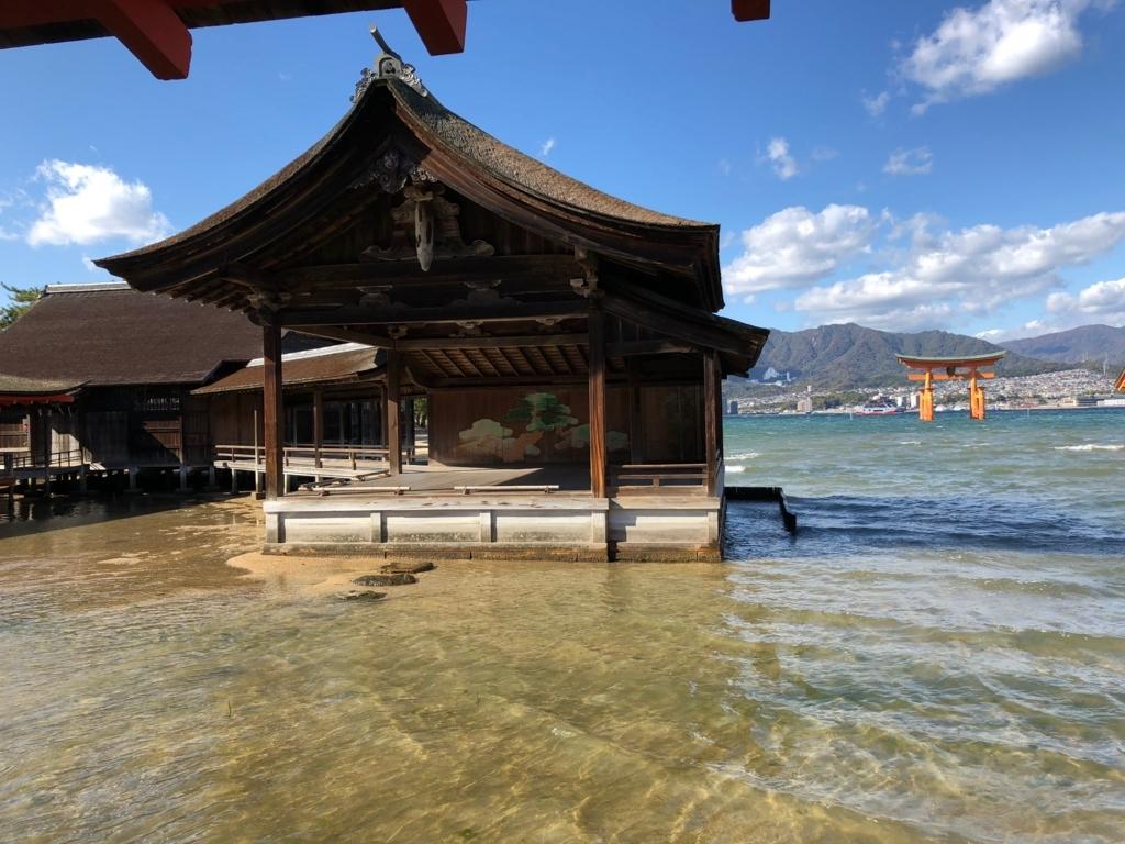 広島県 宮島 厳島神社 満潮 能舞台