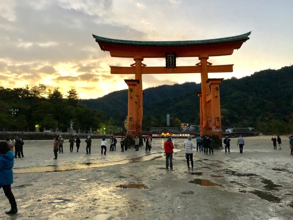 広島県宮島 厳島神社 干潮60cm 干潮後5分後 海側から大鳥居 と 厳島神社の明かり