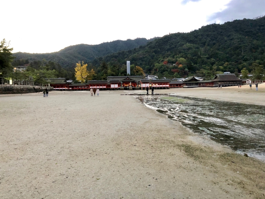 広島県宮島 厳島神社 干潮60cm 干潮後15分後 浜から厳島神社