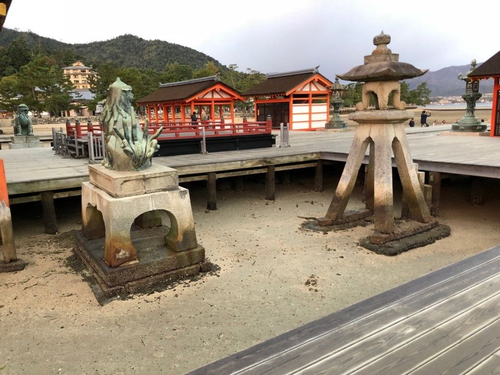 広島県宮島 厳島神社 干潮60cm 干潮後35分後 狛犬