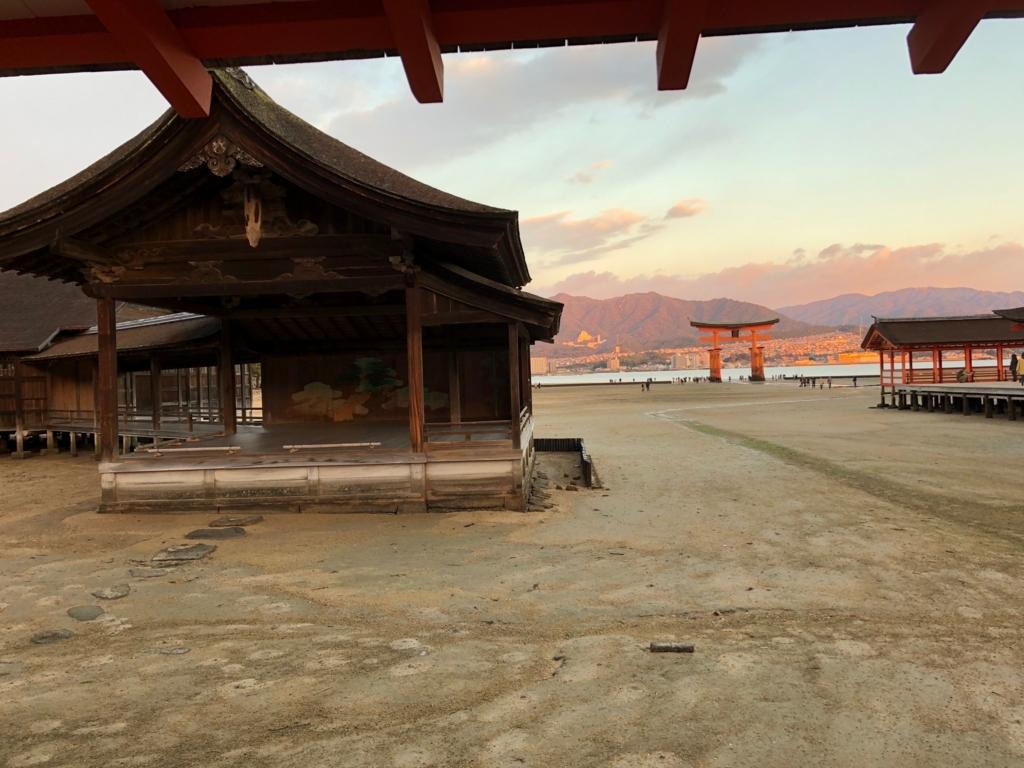 広島県宮島 厳島神社 干潮60cm 干潮後40分後 能舞台