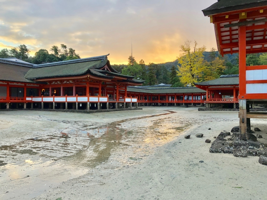 広島県宮島 厳島神社 干潮60cm 浜から「枡形」
