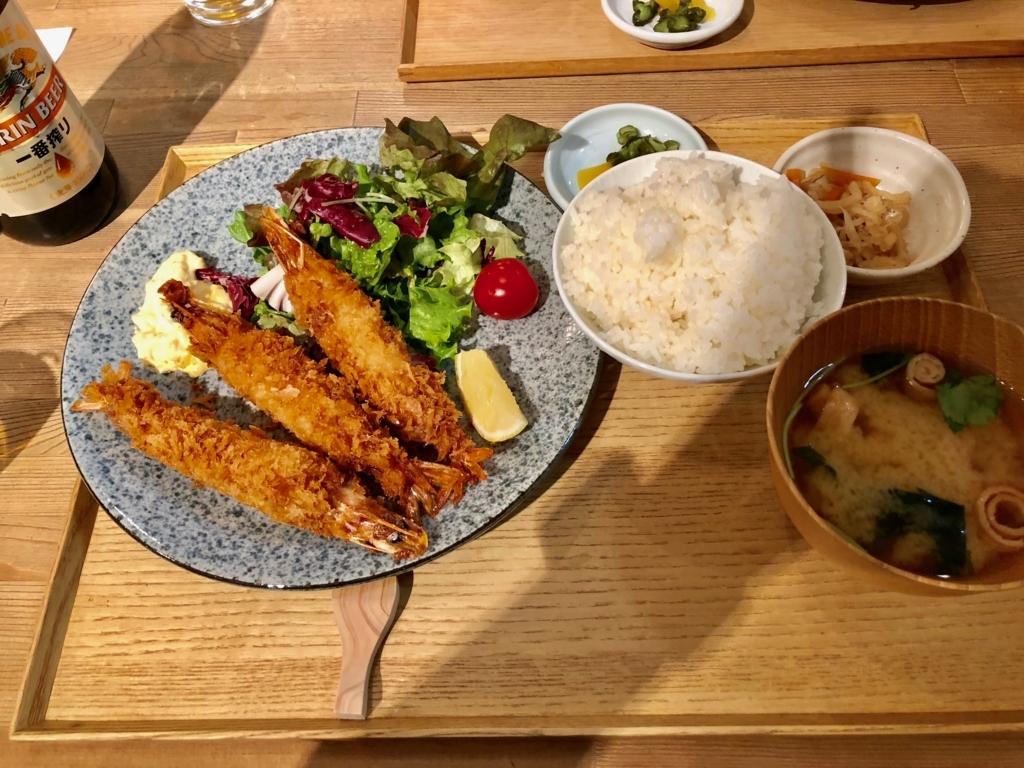 広島県 宮島お食事処 みやじま食堂 有頭エビフライ定食