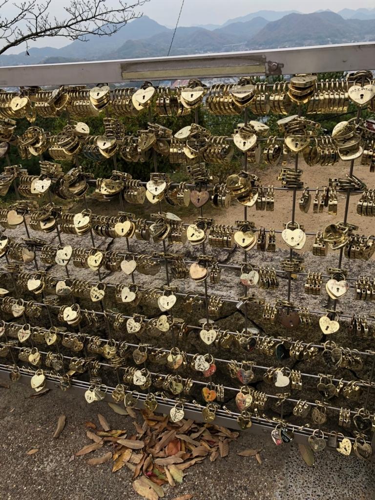 広島県 千光寺公園 「恋人の聖地」沢山の鍵
