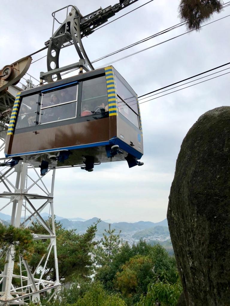 広島県 千光寺公園「文学のこみち」すぐ側をロープウエイ