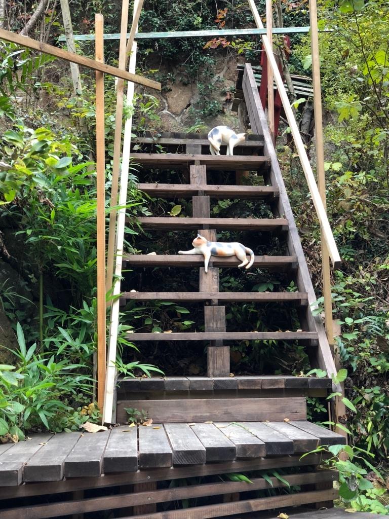 広島県 尾道 「猫の細道」途中の広い空間 猫アート