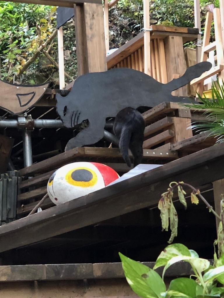 広島県 尾道 「猫の細道」途中の広い空間 猫アートと 本物の黒猫さん