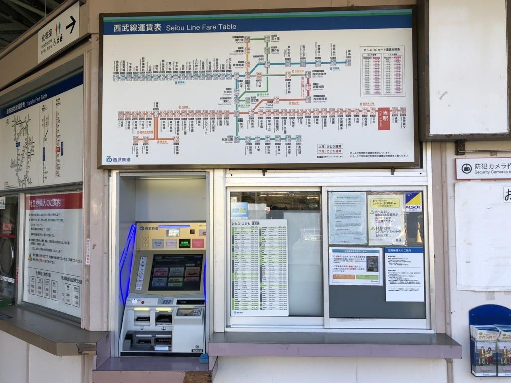 西武秩父線 芦ヶ久保駅 運賃表