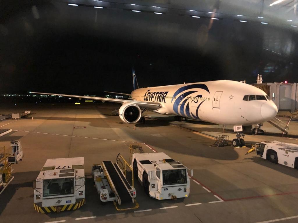 成田空港 第一ターミナル 35番ゲート エジプト航空機