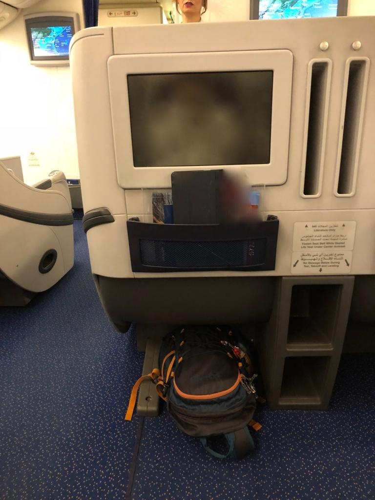 エジプト航空 MS965 成田空港か-カイロ空港 ビジネスクラス モニタ