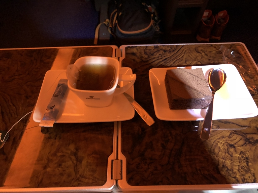 エジプト航空 MS965 ビジネスクラス 1回目の食事 デザート