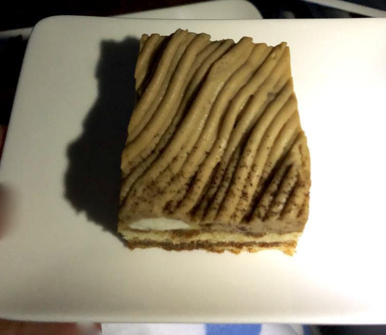 fエジプト航空 MS965 ビジネスクラス 2回目の食事 デザート