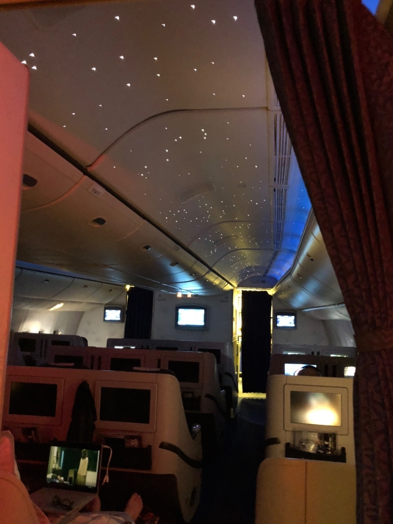 エジプト航空 MS965 ビジネスクラス 就寝中 天井 星空