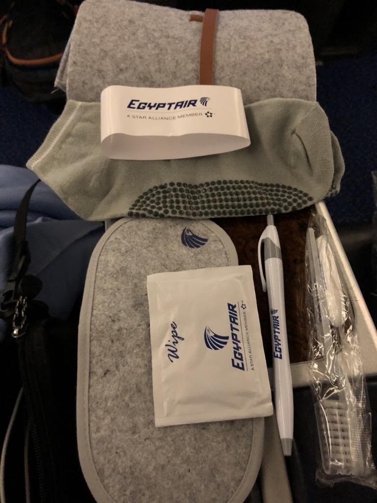 fエジプト航空 MS965 成田空港か-カイロ空港 ビジネスクラス アメニティ