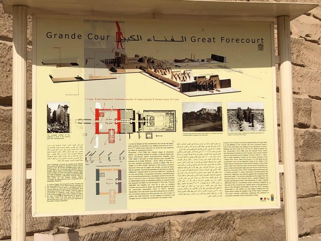 エジプト ルクソール カルナック神殿複合体 アメン神殿 説明板