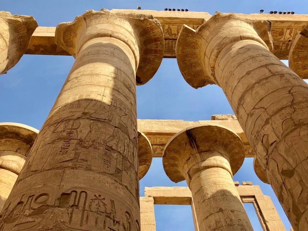 エジプト ルクソール カルナック神殿複合体 アメン神殿 大列柱室 天井