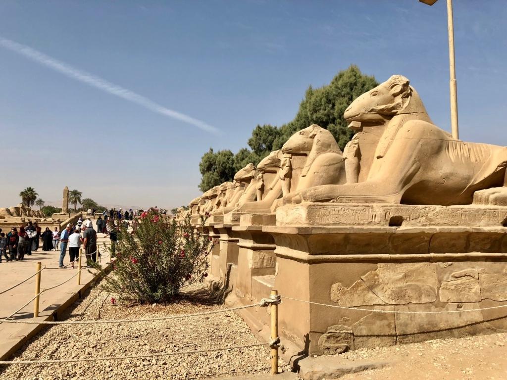 エジプト ルクソール カルナック神殿複合体 アメン神殿 聖池より スフィンクスの参道