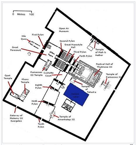 エジプト ルクソール カルナック神殿複合体 アメン神殿平面図 byja.wikipedia.org