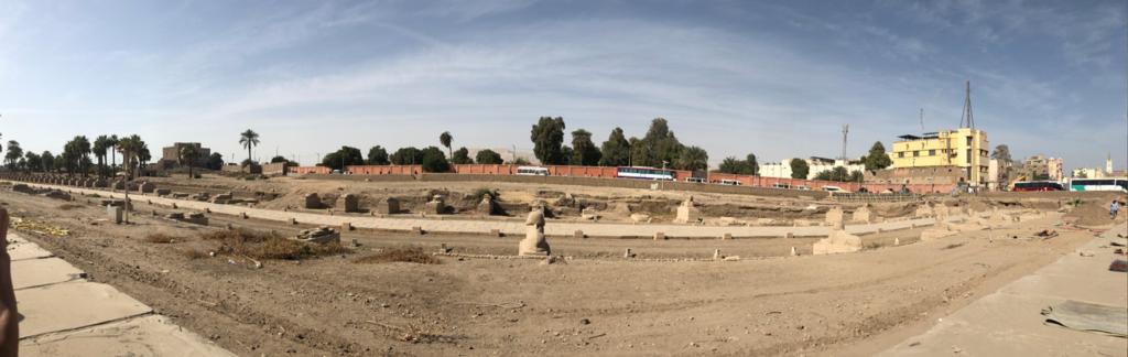 エジプト ルクソール ルクソール神殿近く 長いフィンクスの参道 パノラマ写真