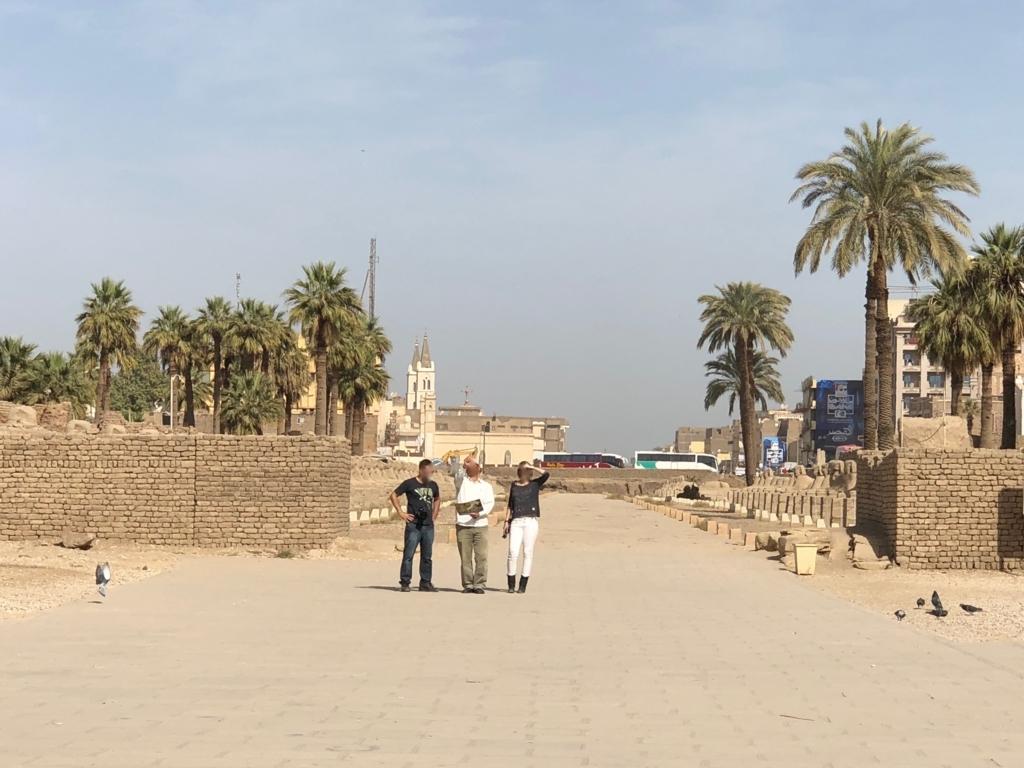 エジプト ルクソール ルクソール神殿 背後にスフィンクスの参道