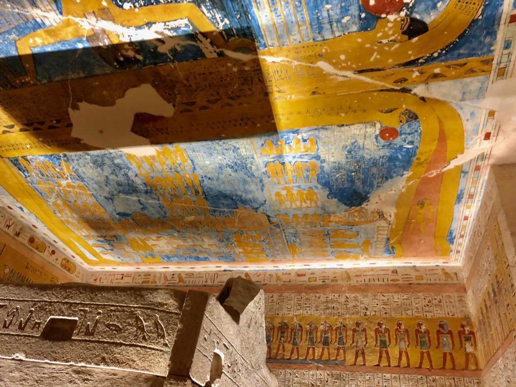 エジプト ルクソール 「王家の谷」ラムセス4世 王墓 玄室 天井「昼の書と夜の書」