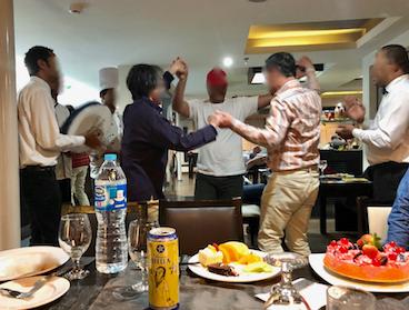 エジプト ナイル川クルーズ船 MS/PREMIUM 1日目夕食 サプライズ バースディ