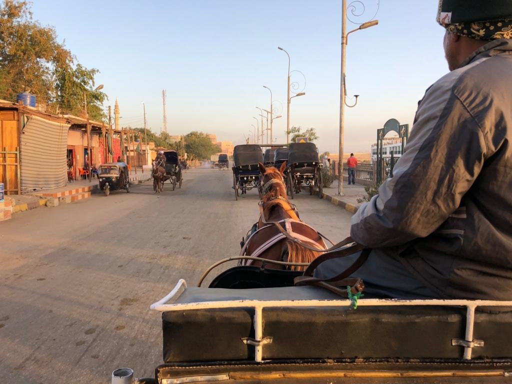 エジプト エドフ ホルス神殿へ 馬車で移動