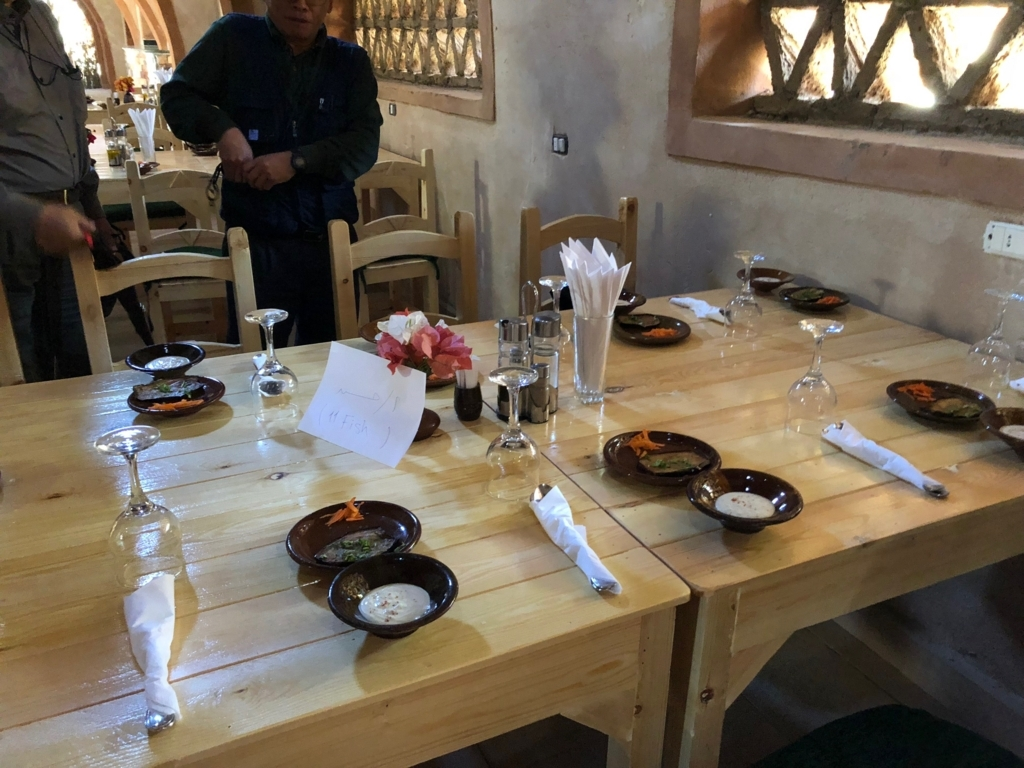 エジプト ナセル湖畔 「Eskaleh Nubian Ecolodge」 レストラン 私達のお席