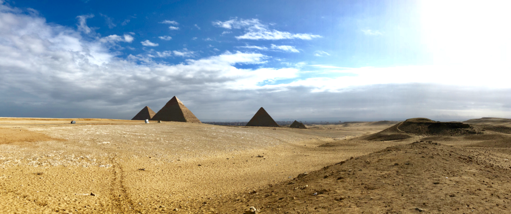 エジプト ギザ 3大ピラミッド「パノラマポイント」 からの 眺め パノラマ撮影