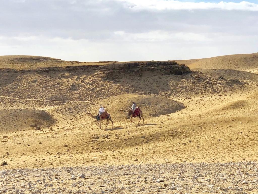 エジプト ギザ 3大ピラミッドから「パノラマポイント」へ移動中 ラクダで移動される方も