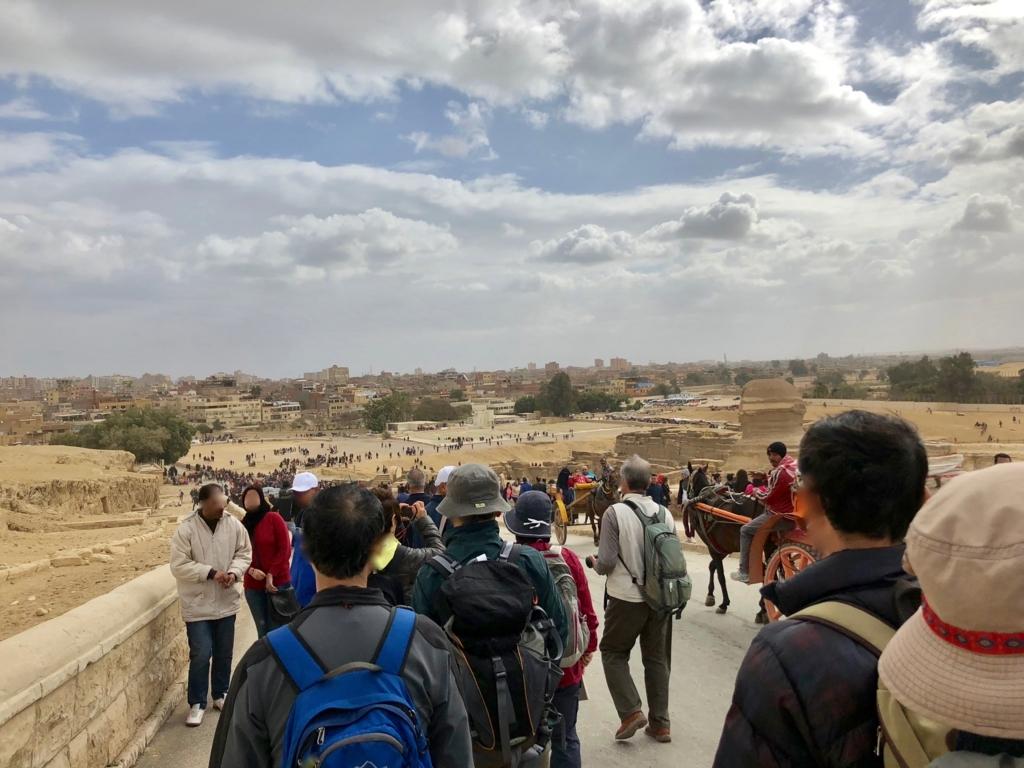 エジプト ギザ 前日 3大ピラミッドから 大スフィンクスへの道 大喧騒