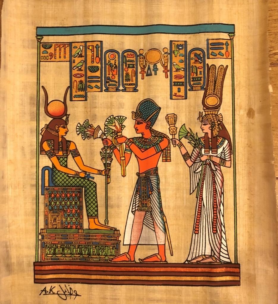 エジプト ギザ パピルス店「Aegyptus Papyrus」パピルス画 ネフェルタリ王妃 ラムセス2世 イシス女神