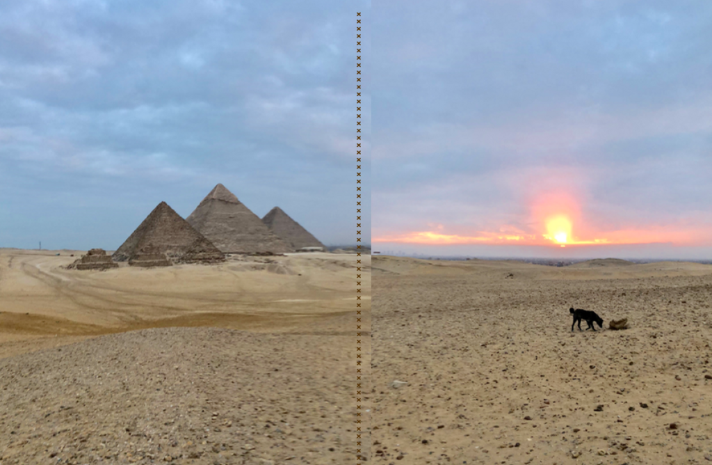 エジプト ギザ 3大ピラミッド と 朝日
